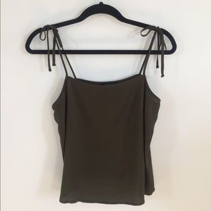 Army Green Tie Strap Tank Top
